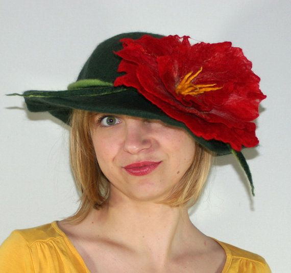 FELTED HAT with felted flower by Filtil on Etsy, $59.00