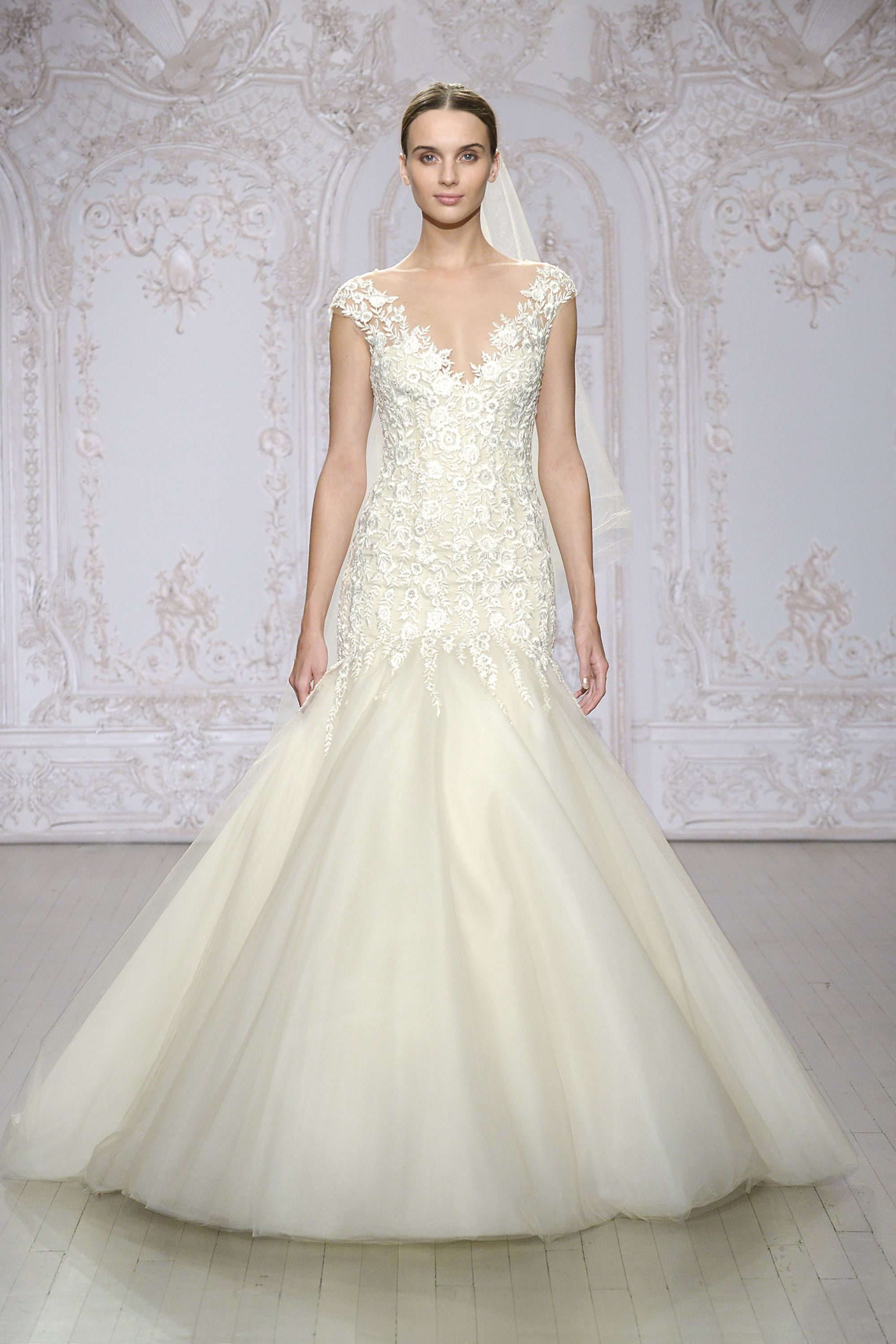 Monique Lhuillier - Ivory / nude embroidered tulle gown with ...