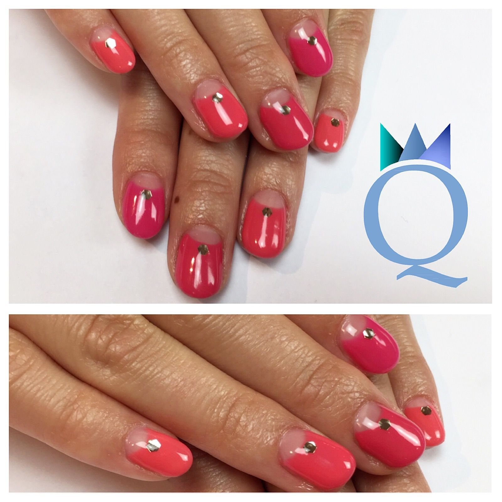 shortnails #gelnails #nails #coral #shades #kurzenägel #gelnägel ...