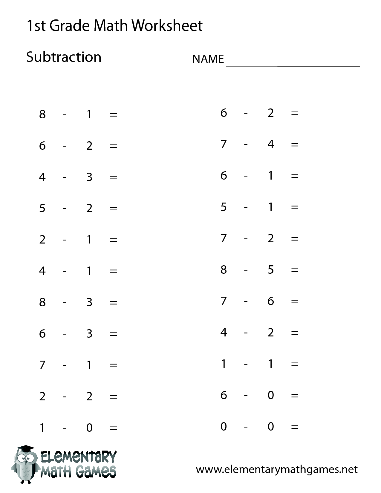 first grade math Subtraction Timed 03 – Math for Kids Worksheet