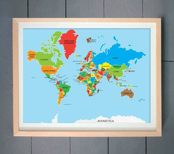 World Map World Map Print Guest Book Map Wall Art Home Decor - World map for playroom