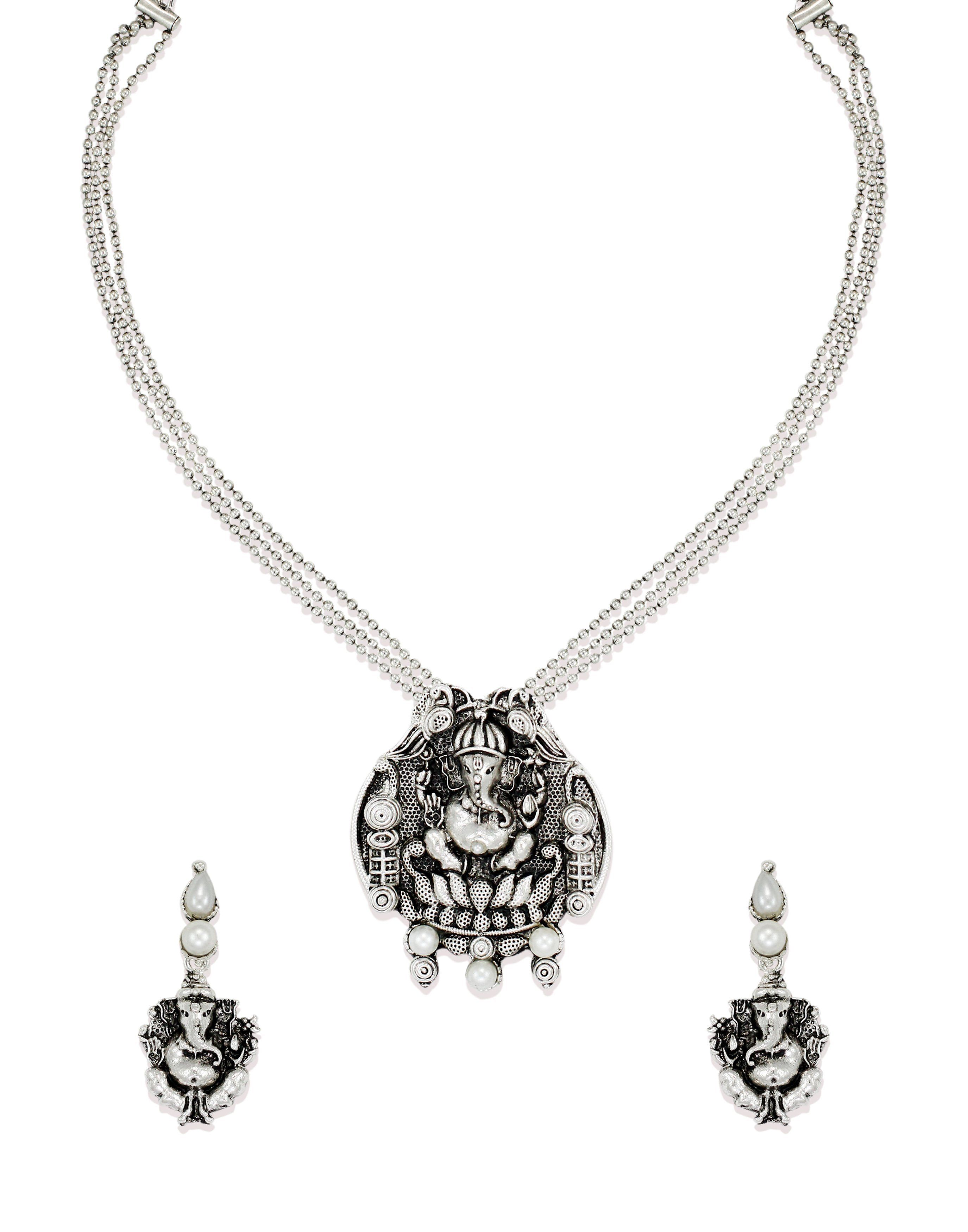 Zaveri pearls antique lord ganesha temple necklace set zaveri