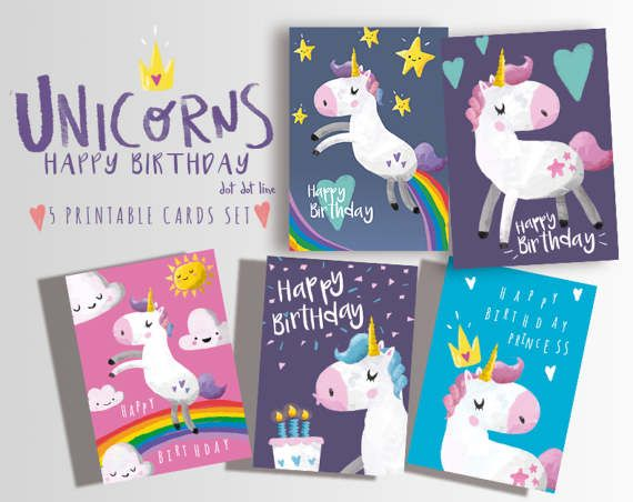Happy Birthday Unicorn 9 Printable Cards Set 50 Off Instant