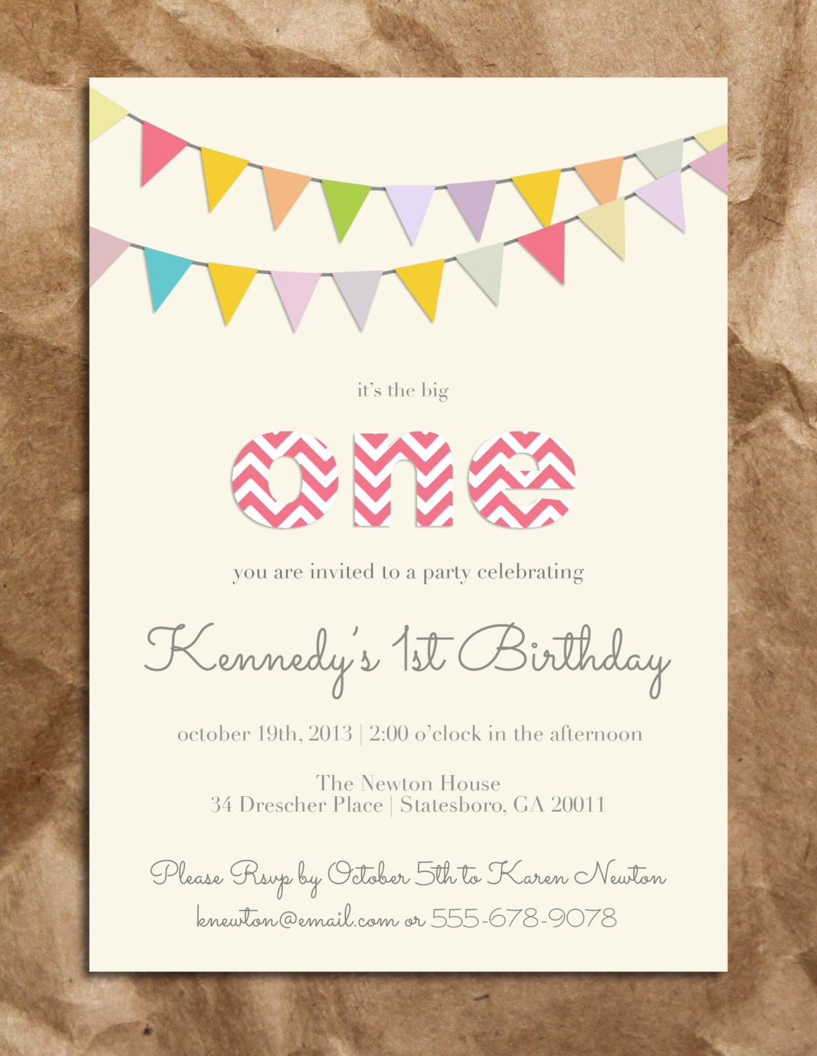 Cute and Sweet Girl\'s 1st Birthday Invitation | Girl Stuff ...