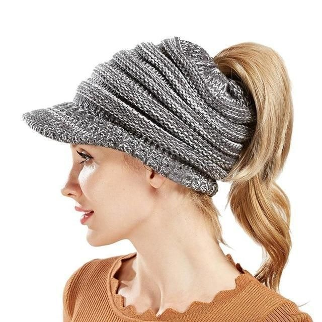 dd1df04b2af Hot Sale Women S Knitted Baseball Cap Open Ponytail Visor Cap Ski Cap Beanie  Hat Winter For Women