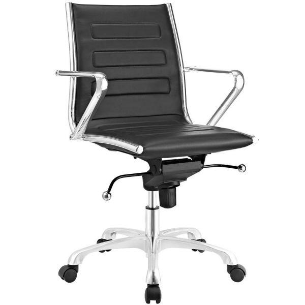 Ascend Modern Black Vinyl Steel Mid Back Office Chair