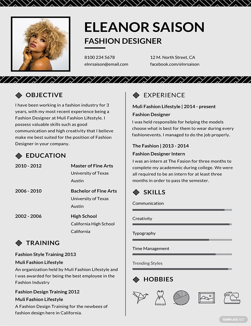 Free Assistant Fashion Designer Resume Template in 2020