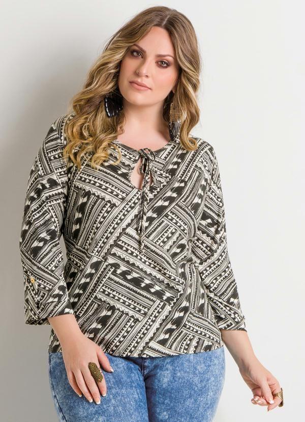 7eff53a0ee 7 8 mangas de la blusa geométrica Plus Size - Posthaus