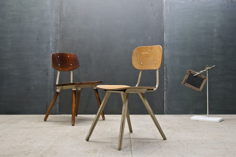 Good Vintage French Industrial School Chair : 20th Century Vintage Industrial :  Modern Fifty