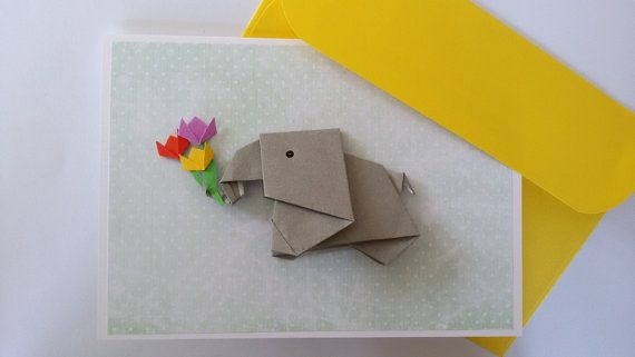 Elephant birthday card handmade origami paper elephant card pop up elephant birthday card handmade origami paper elephant card pop up card funny girlfriend bookmarktalkfo Image collections