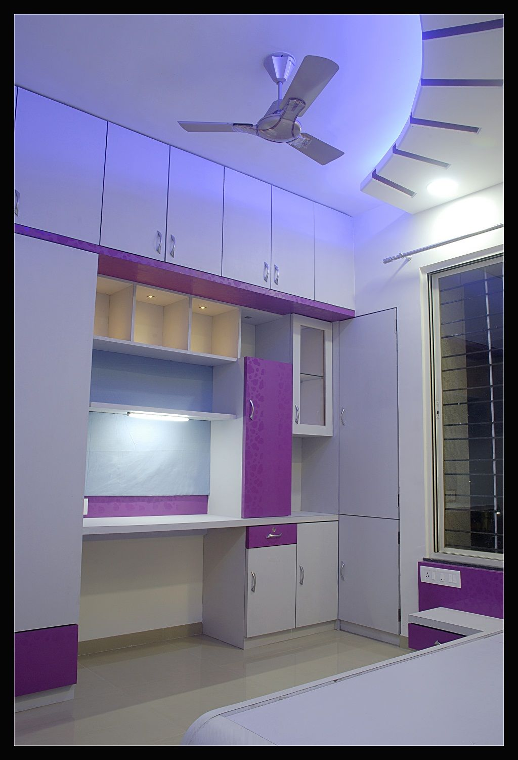 Ceiling Beds Daughters Bedroom In Magenta Colour Scheme In Laminate Glass