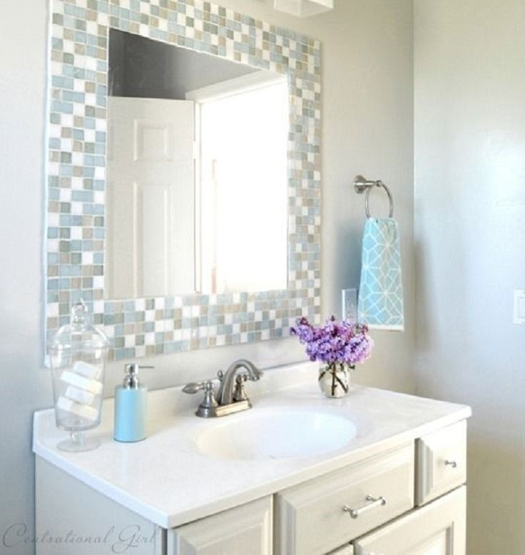 Use Some Of Our Bath Tile Tutorial By Centsational Girl Mosaic Bathroom Mirror Paint Color Is Glidden Oyster Bay A Custom Blend From
