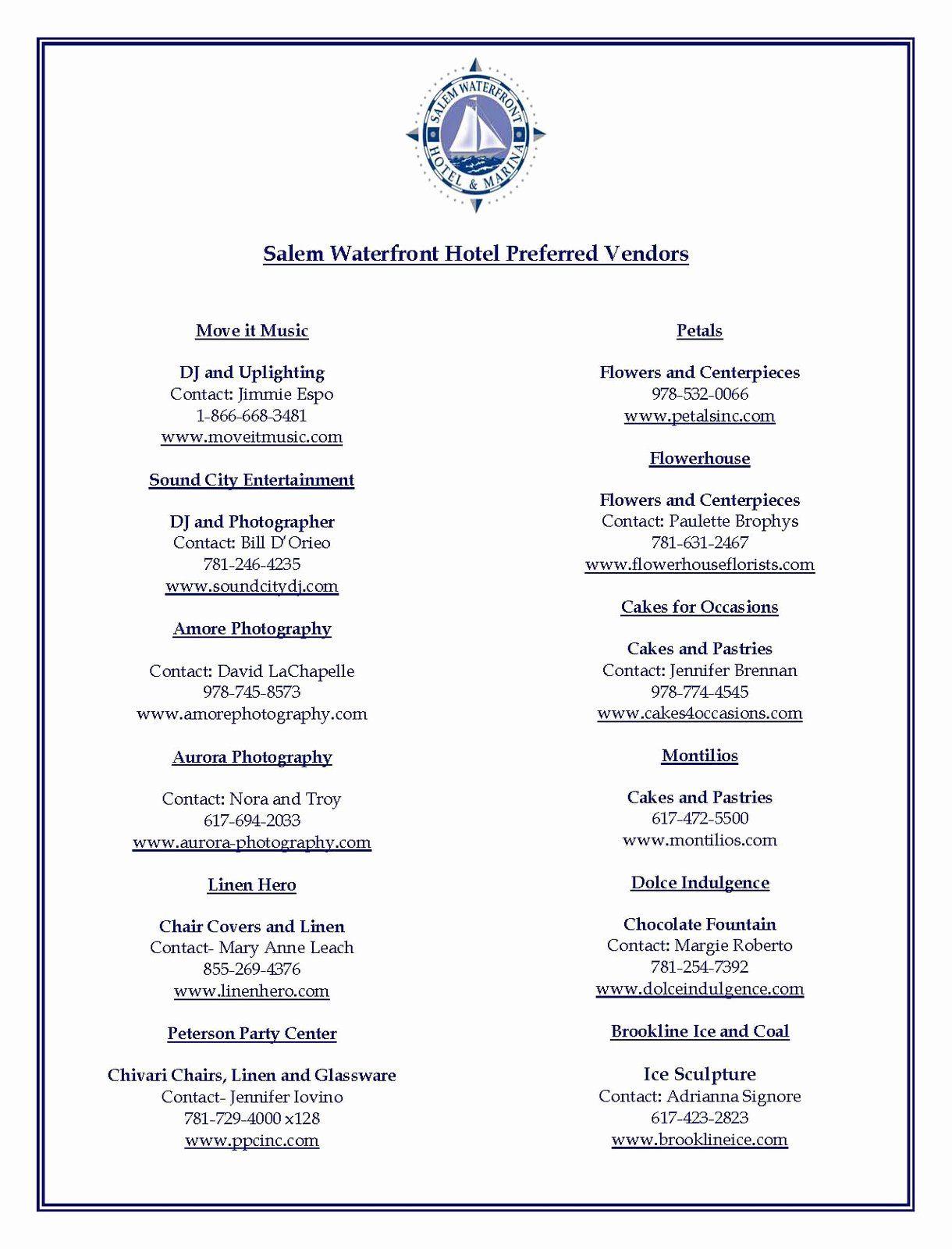31+ Wedding vendor list template info