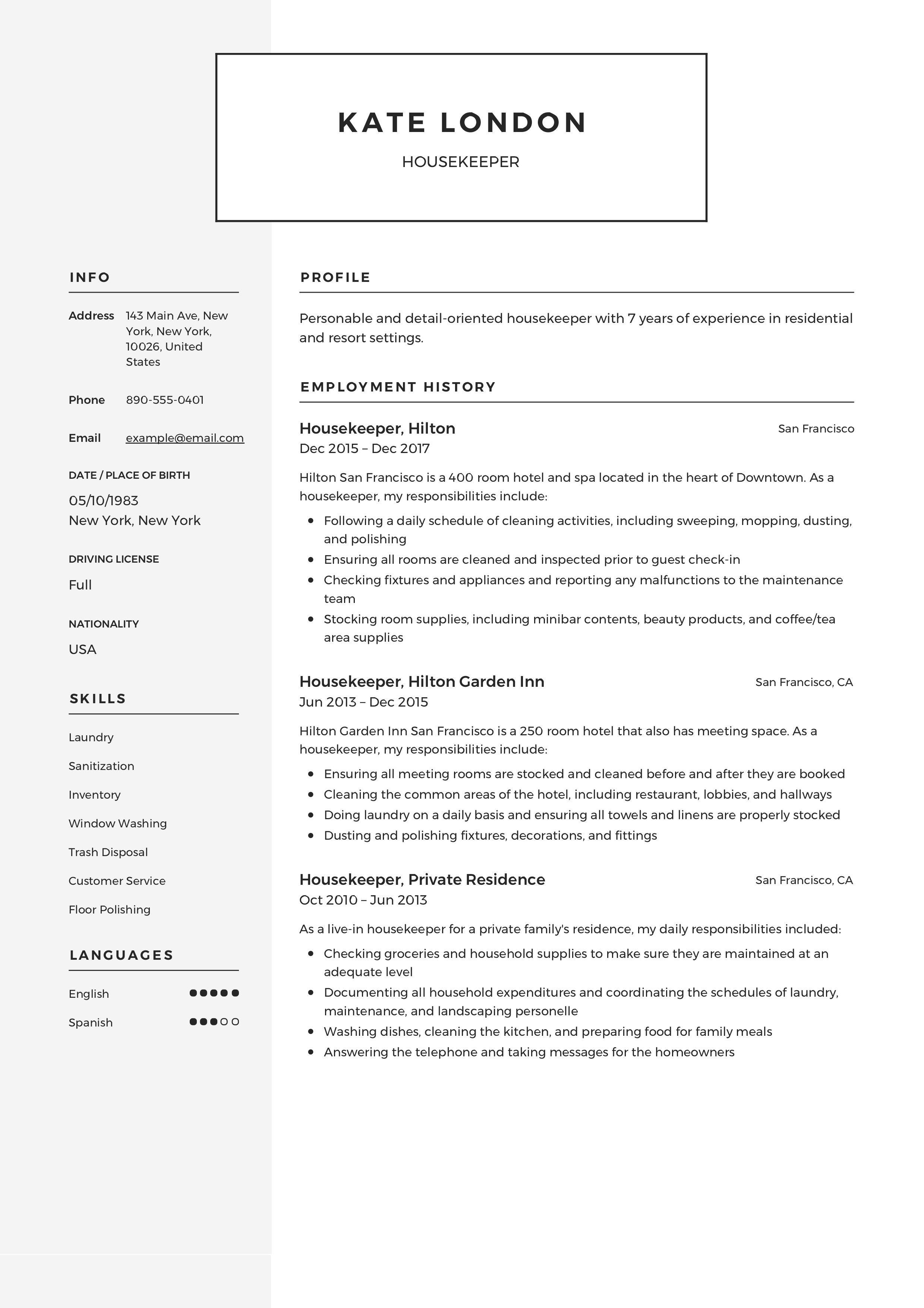 Housekeeper Resume Template Resume Guide Housekeeping Resume