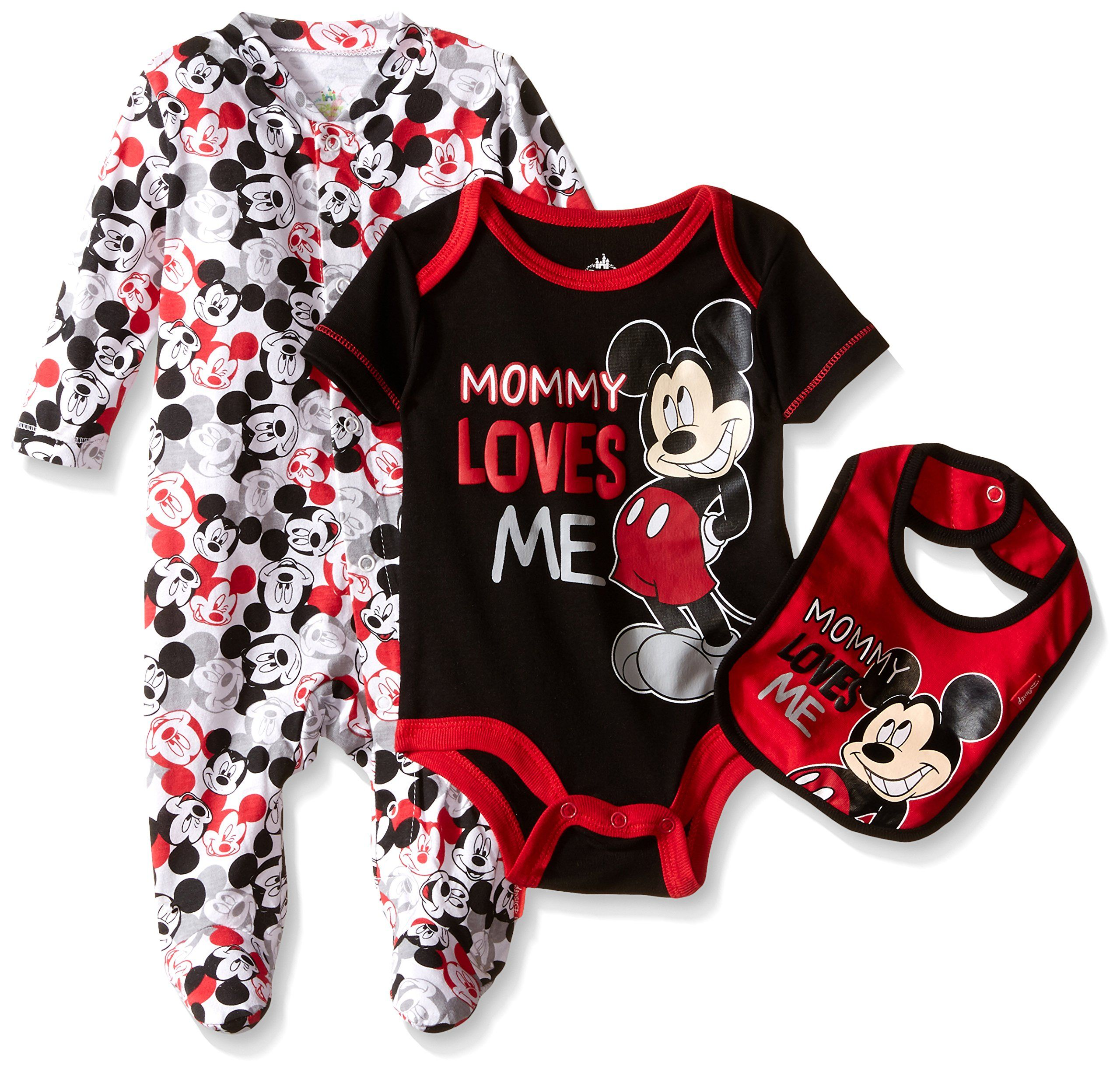 ce74e0d51 Disney Baby Mickey Mouse 3 Piece Layette Set, Mickey Black, 0-3 Months
