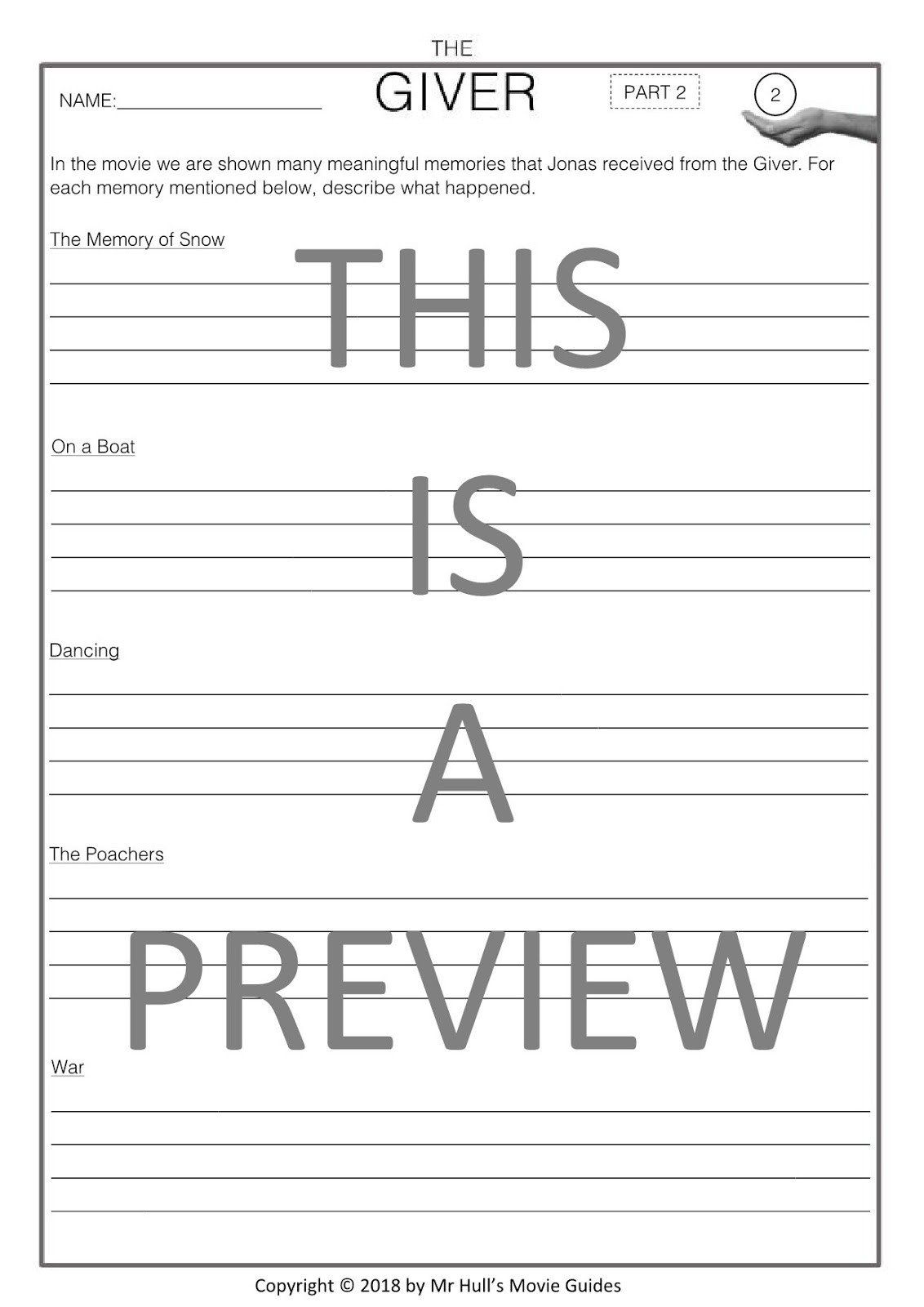 The Giver Movie Worksheet Movie Guides And Prehension