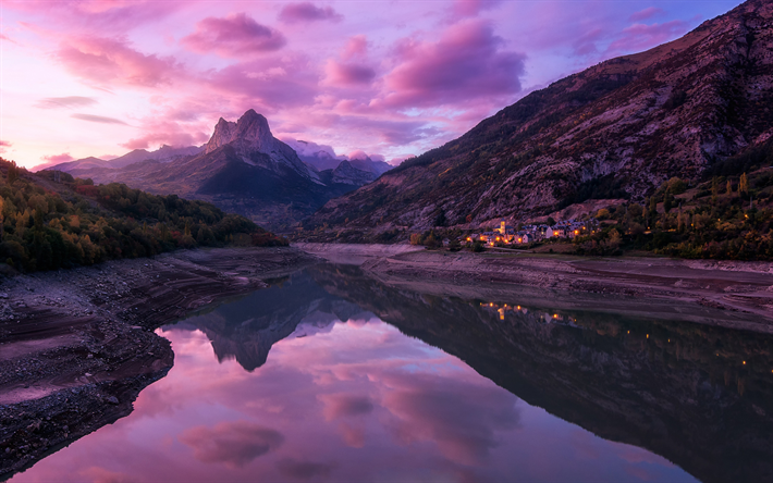 Download Wallpapers Evening Sunset Mountain Landscape Purple Clouds Mountain River Dolomites Italy Besthqwallpapers Com Mountain Landscape Mountain River Italy Sunset
