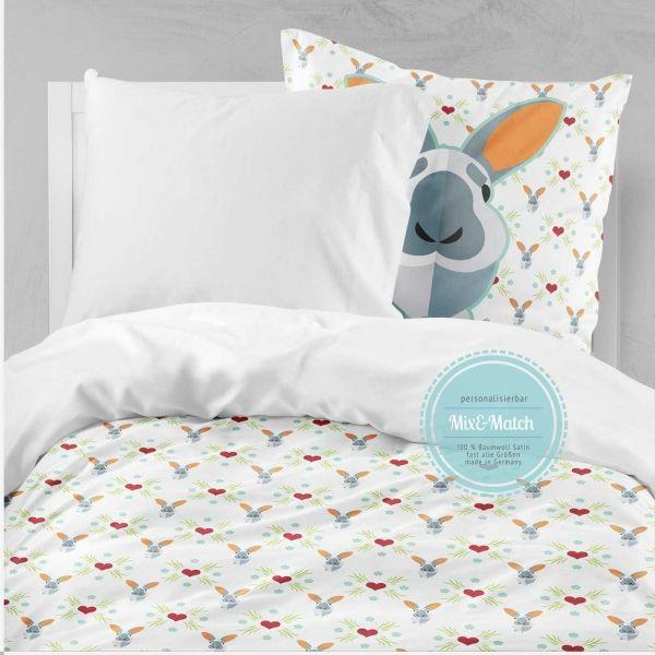 Babybettwasche Kinder Bettwasche Hase Mit Herz Ab 100x135cm