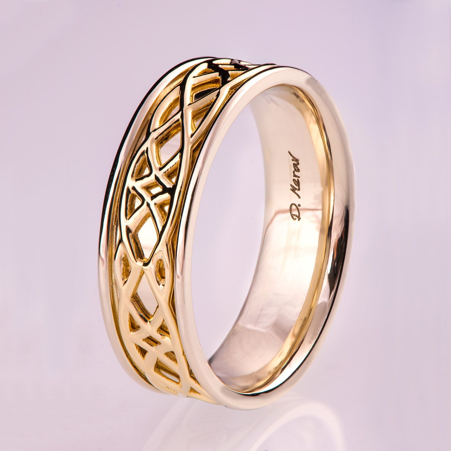 Celtic Wedding Band Wedding Band Two Tone wedding Ring two tone
