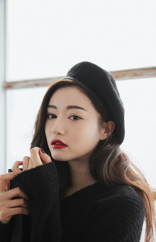 Korean Makeup, Park Sora, Ulzzang, Red Lips Red lips