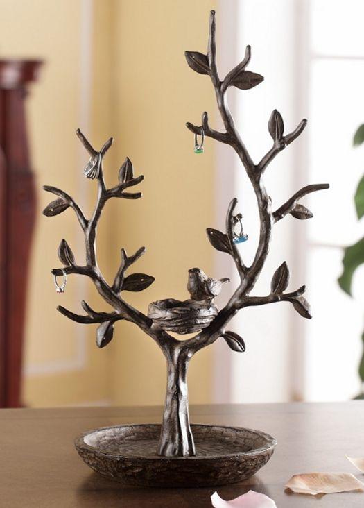 Hooks Hangers Jewelry Tree Bird Nest Branch Jewelry Holder Stand Display Metal 15 H Home Garden Vibranthns Lk