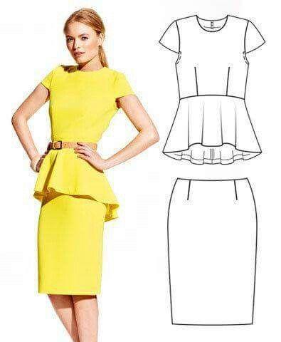 peplum top & pencil skirt | costuras | Pinterest | Stoffmuster ...