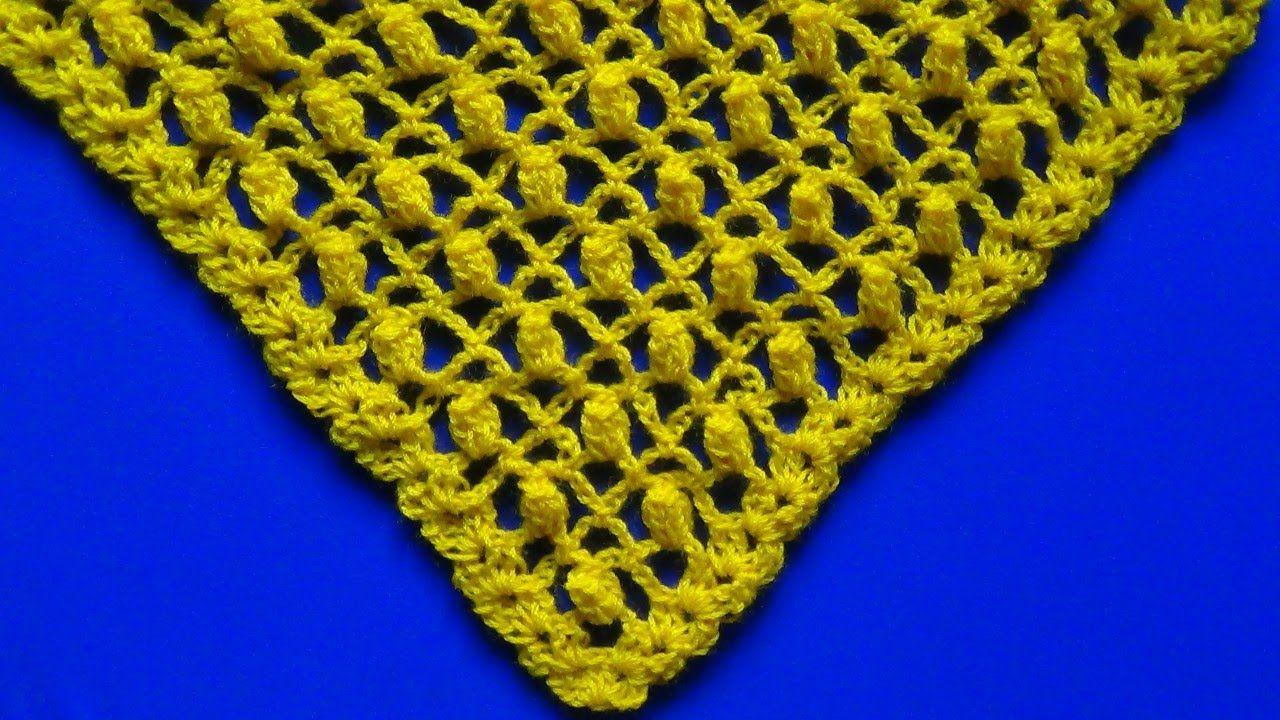 Chal En V Tejido A Crochet Punto Piña Calado Crochet