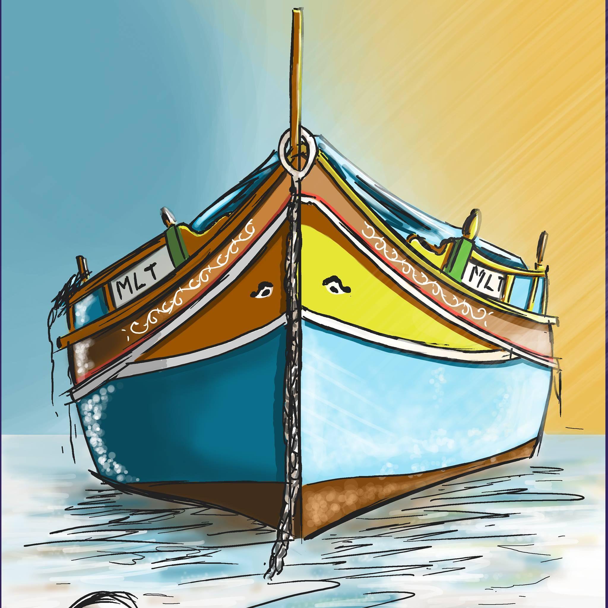 Maltese Traditional Fishing Boat Painting Boat Painting Fishing