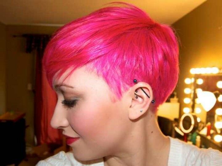 Hot Pink Undercut Short Hair Styles Pixie Hairstyles Pink Hair
