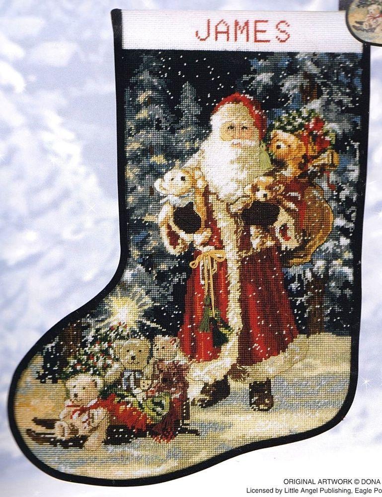 Needlepoint Christmas Stocking Kit.Candamar Santa Stocking Kit Victorian Bears Gifts Christmas