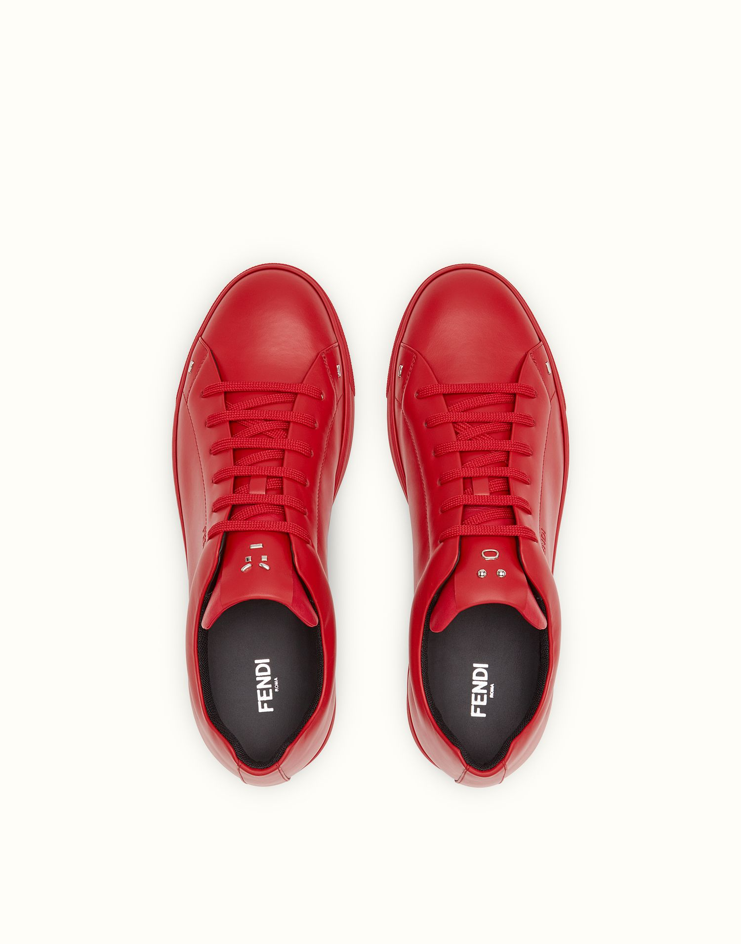 FENDI SNEAKERS - Red leather lace-ups