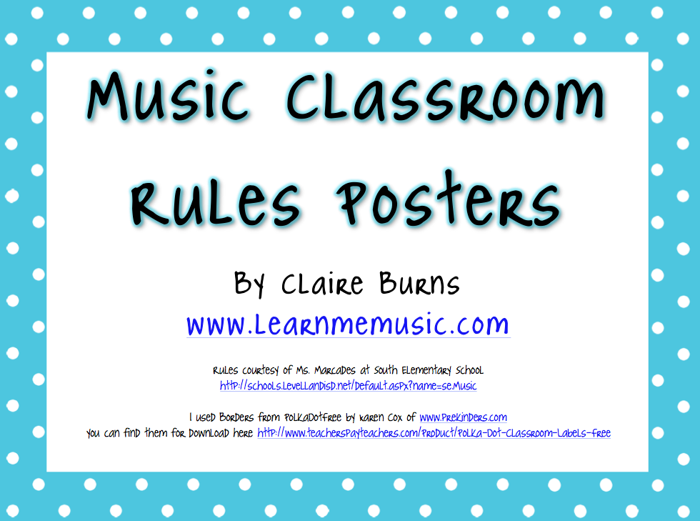 Music Classroom Rules Posters Printable - using the letters in the ...