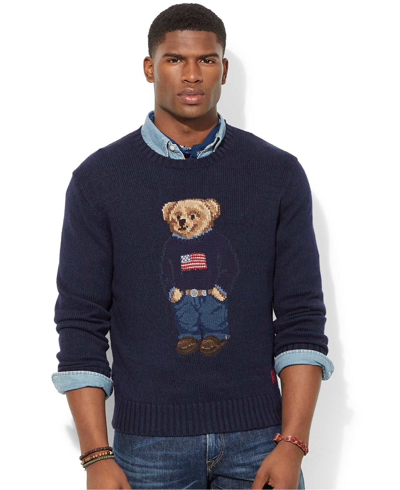 ed0cbd937a Polo Ralph Lauren Polo Bear Pima Sweater - Sweaters - Men - Macy s ...