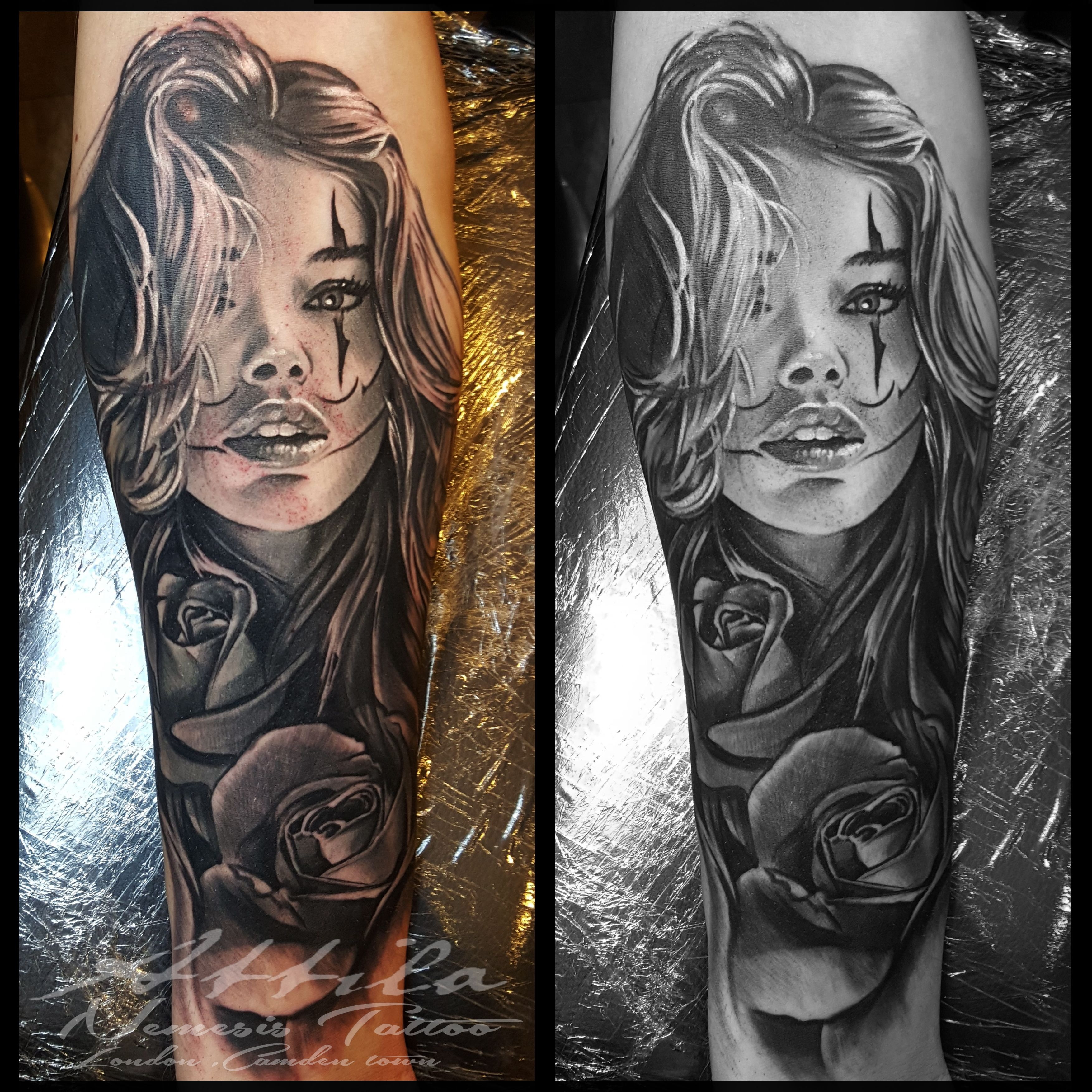 363a47edb clown face girl and rose half sleeve forearm tattoo instagram/  nemesistattoo_attila