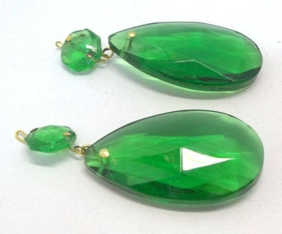 Lot of two 2 vintage green chandelier crystals 2 green teardrop lot of two 2 vintage green chandelier crystals 2 green teardrop chandelier prism mozeypictures Image collections