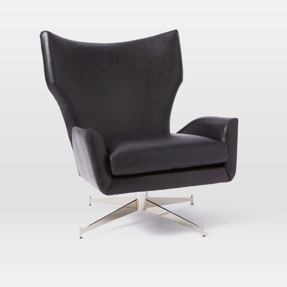 Marvelous Hemming Leather Swivel Armchair