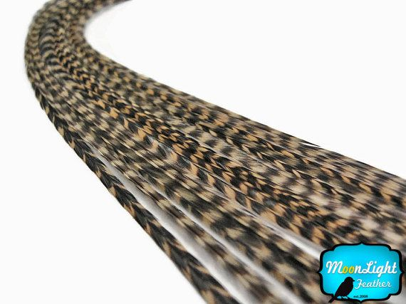Hair Feathers, 1 Piece - TAN Thin Long Grizzly Rooster Hair Extension Feather & Silicon Bead : 1529
