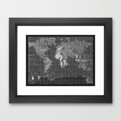Black and white vintage world map framed art print map ology and black and white vintage world map framed art print gumiabroncs Images