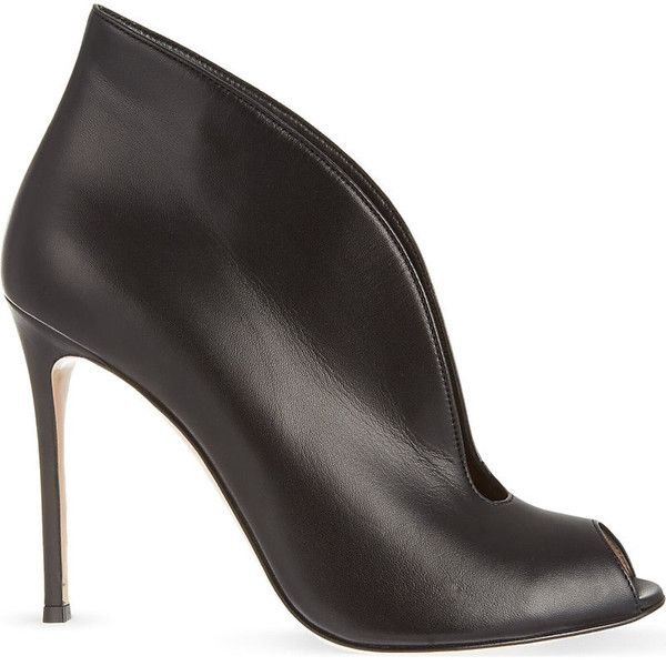 Gianvito Rossi Lombardy leather heeled ankle boots ($845) ❤ liked on Polyvore featuring shoes, boots, ankle booties, black ankle boots, short black boots, black stiletto booties, peep toe booties and black high heel booties