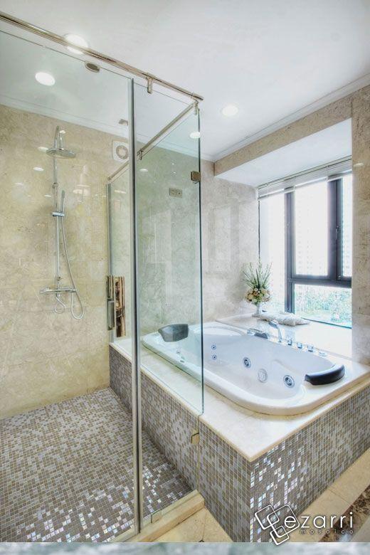 Emaux de verre ezarri sahara mosaique salle de bain beige et beige nacr n - Mosaique beige salle de bain ...