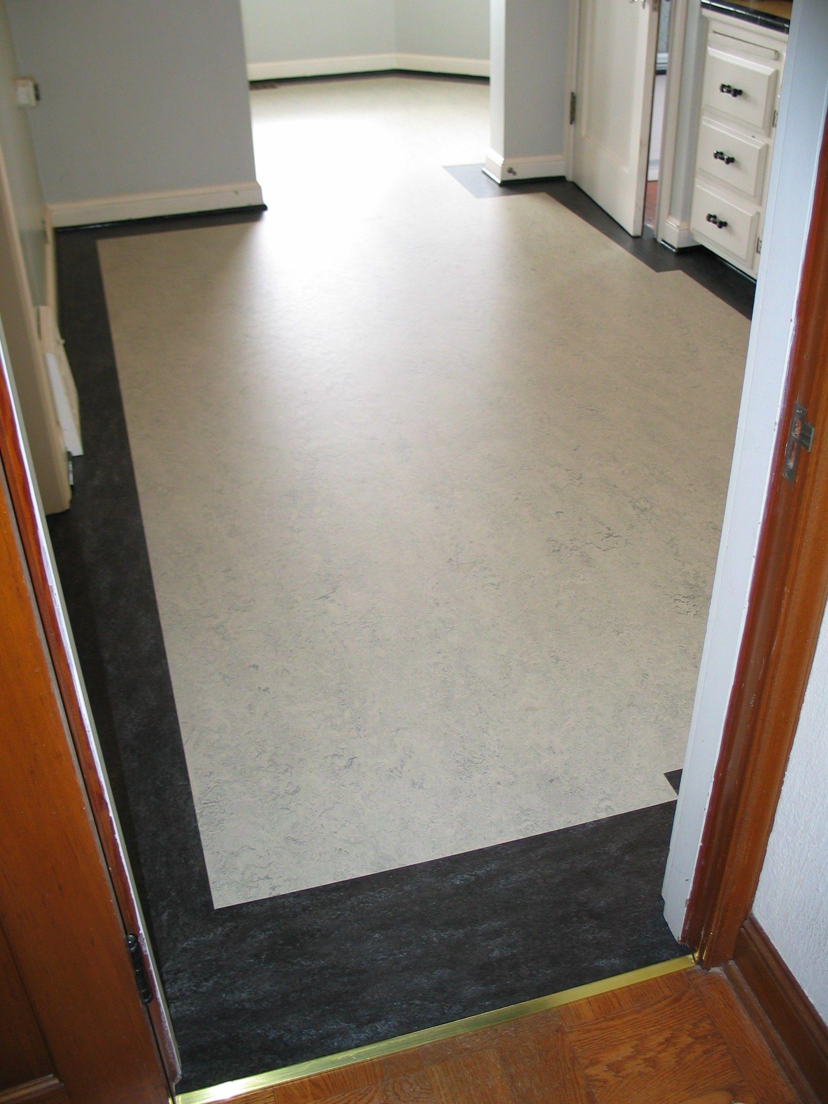 Marmoleum Kitchen With Border Looks Amazing In This Craftsman Entrancing Kitchen Floor Designs Inspiration