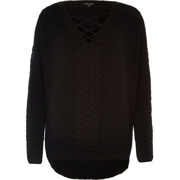 River Island Black cable knit tie front sweater (£55) ❤ liked on Polyvore featuring tops, sweaters, black, knitwear, v-neck sweater, cable sweater, cable-knit sweater, over sized sweaters and chunky cable knit sweater