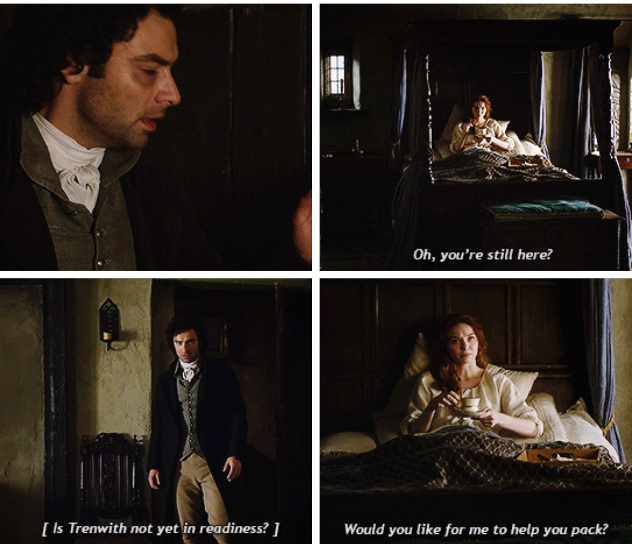 """""""Oh, you're still here? Would you like for me to help you pack?"""" - Demelza and Ross #Poldark ((Nailed it!))"""