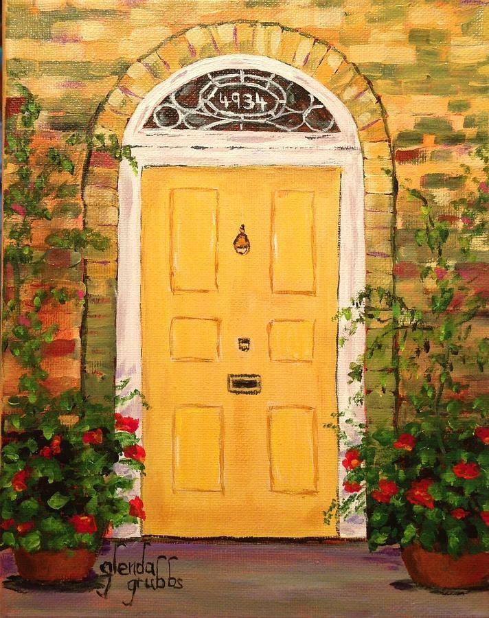 painted artwork on door | Yellow Cottage Door Painting by Glenda Grubbs & painted artwork on door | Yellow Cottage Door Painting by Glenda ... pezcame.com