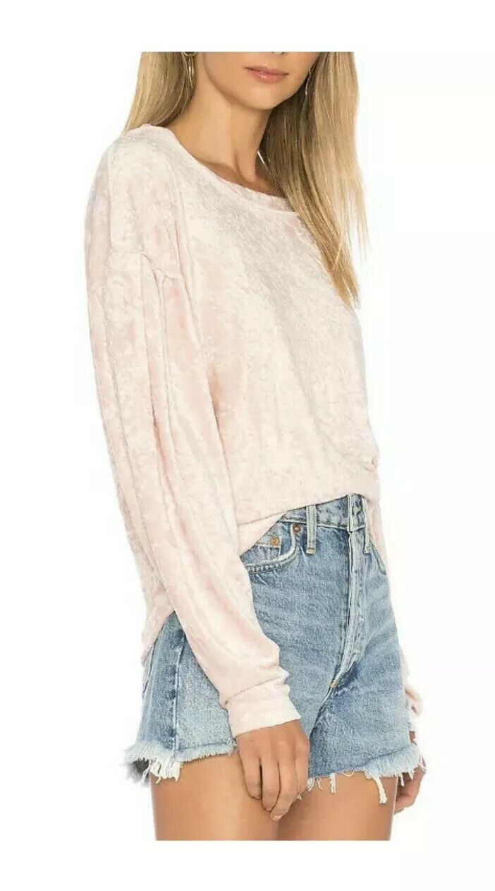 Free People Womens Nora Jane Velvet Sweater Relaxed Blush Pink Size XS 1999