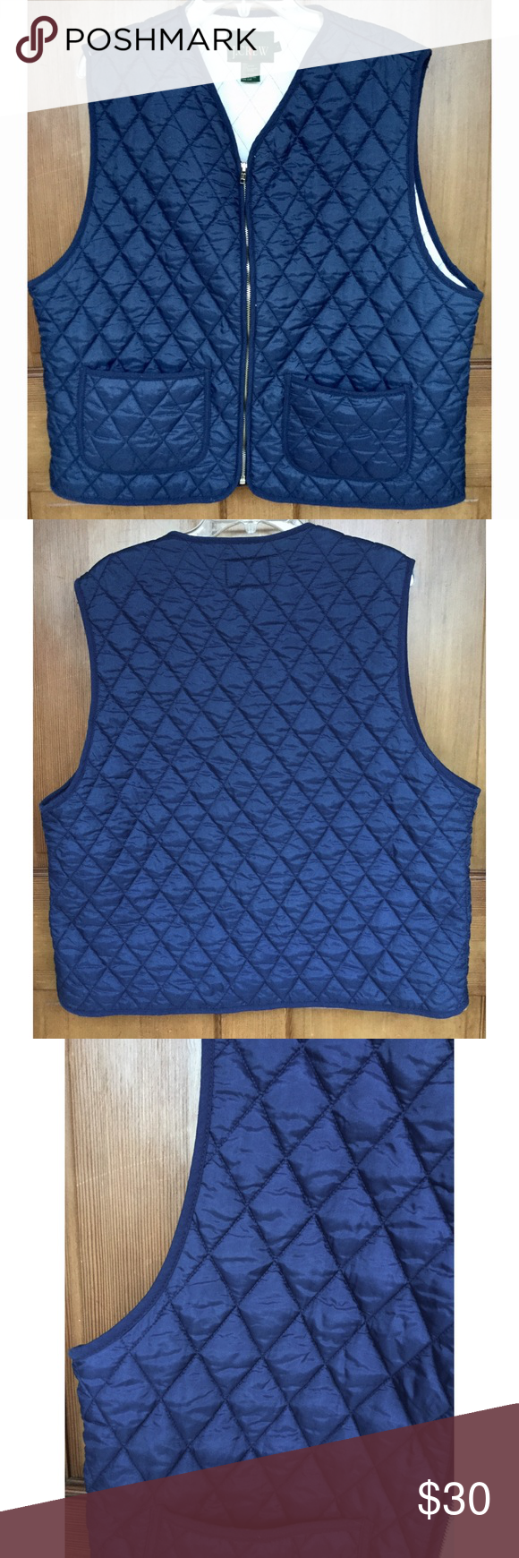 """J. Crew Vintage Nylon Quilted Vest L J. Crew Quilted Vest, L. Laying flat it measures approximately: shoulder to bottom 25"""", armpit to armpit 24"""".  Nice overall condition and smoke free home. Thanks! J. Crew Jackets & Coats Vests"""