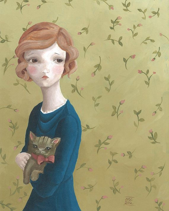 Portrait of a Girl with a Cat 8x10 Print by BarnumsWinter on Etsy, $22.00