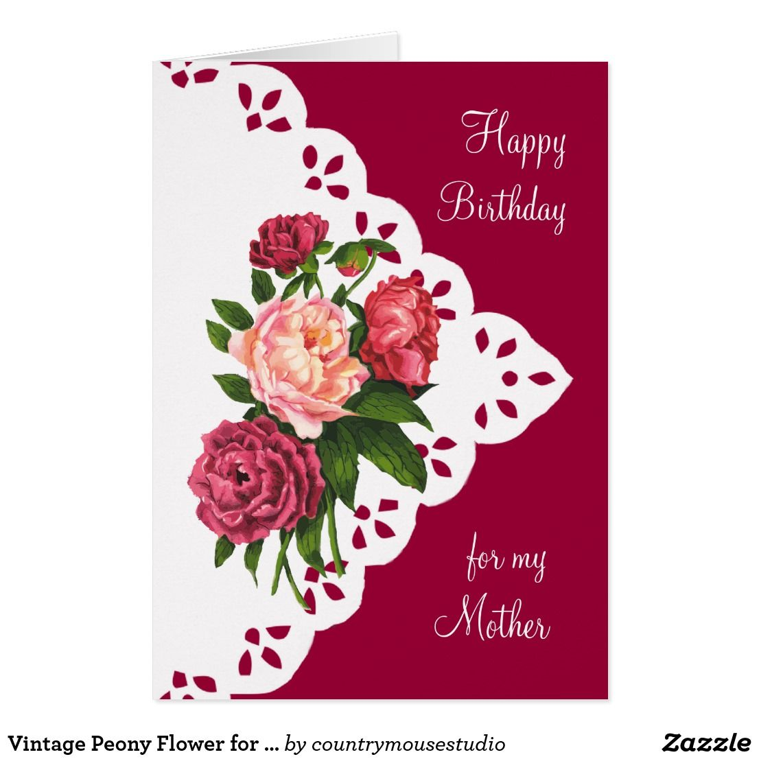 Vintage peony flower for mom mother birthday happy birthday 80 shop vintage peony flower for mom mother birthday card created by countrymousestudio izmirmasajfo