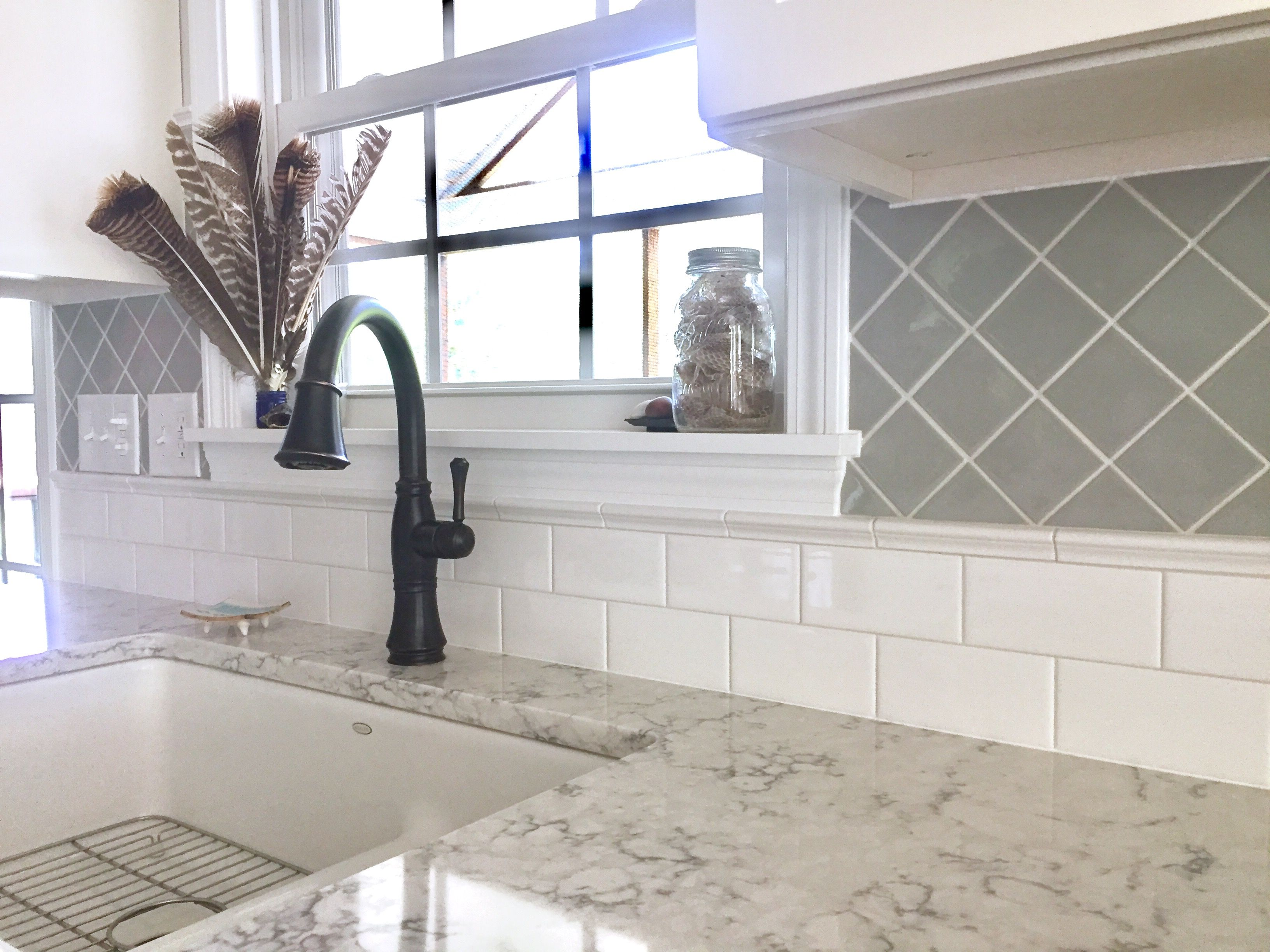 - Subway Tile And Diagonal-set Square Tile For Two-tone Classic