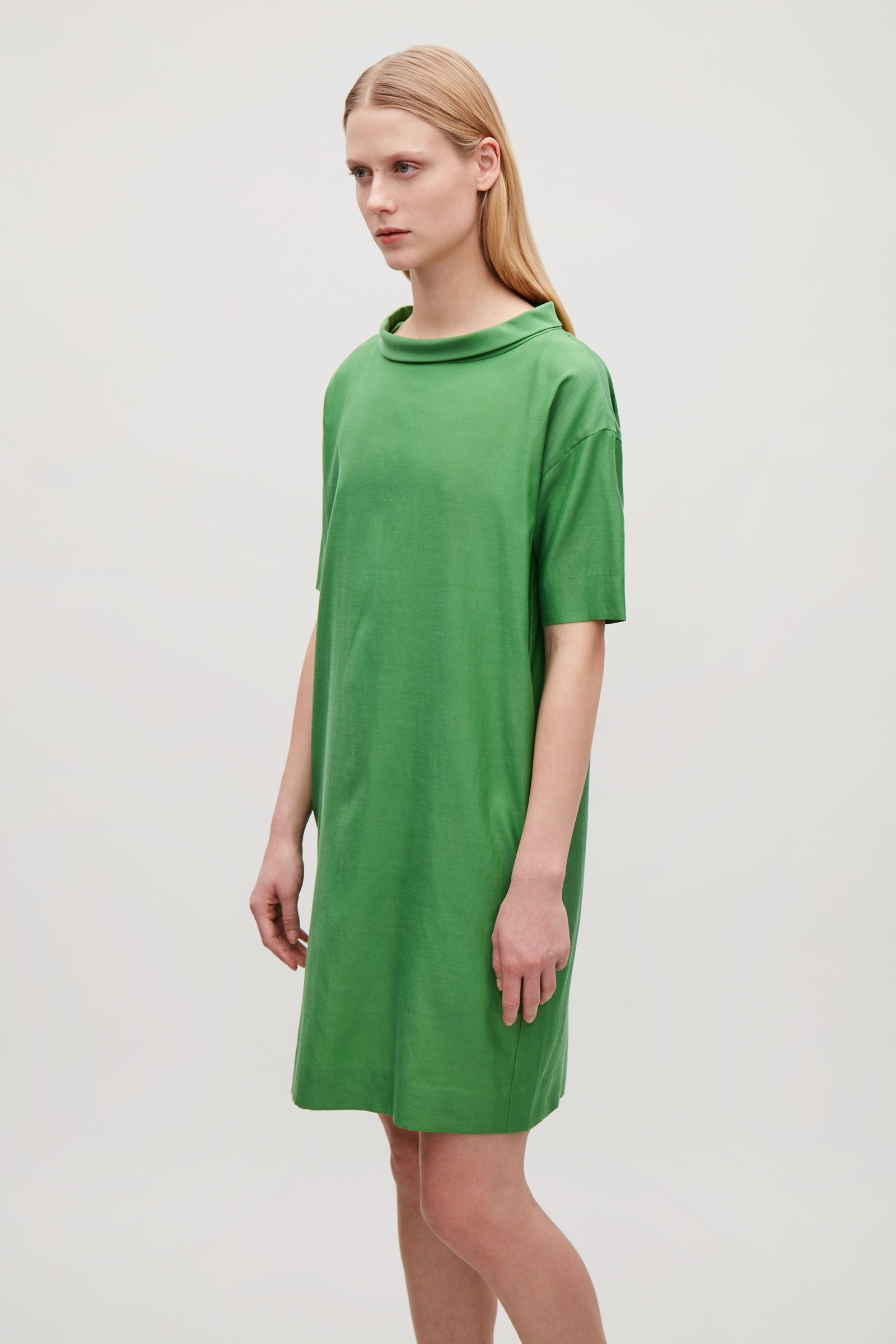 494115d1e8b2 Model side image of Cos draped dress with folded collar in green ...